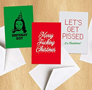Funny Christmas Cards - Pack Of 6 Seasonal Cards - 3 Hilarious designs With Envelopes - Rude Adult Humor - Funny Adult Joke Holiday Cards