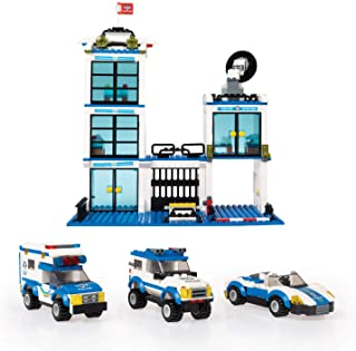736 Piece City Police Station & Car Building Bricks Kit - 4 in 1 Toy Blocks Set for Boys and Girls