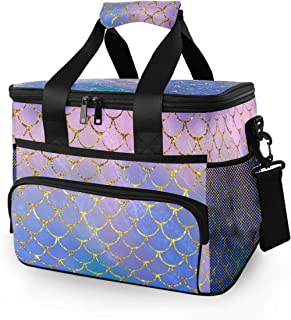 JUMBEAR 15L Leakproof Reusable Insulated Cooler Lunch Bag Office Work Picnic Hiking Beach Lunch Box Organizer with Adjustable Shoulder Strap, Purple Mermaid