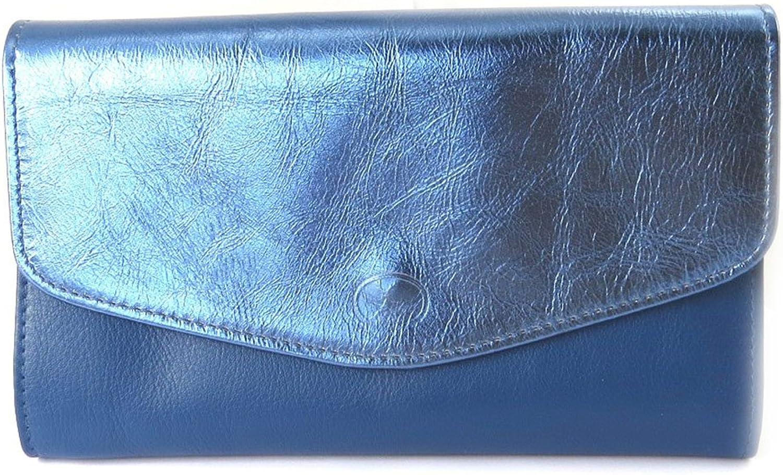 Leather wallet + checkbook holder 'Frandi'bluee bicolor.