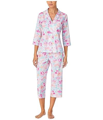 LAUREN Ralph Lauren Petite Classic Wovens 3/4 Sleeve Notch Collar Capri Pants Pajama Set (Multi Floral) Women