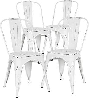 Poly and Bark Trattoria Kitchen and Dining Metal Side Chair in Distressed White (Set of 4)
