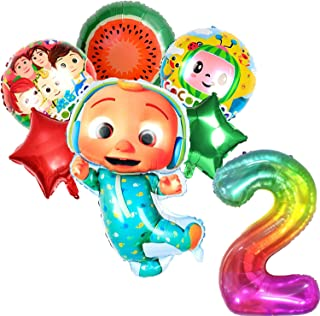 Cocomelon Birthday Party Supplies, 6 Pcs Cocomelon Aluminum Foil Balloon with 40 inch Number Rainbow Balloon for Kids 2nd ...