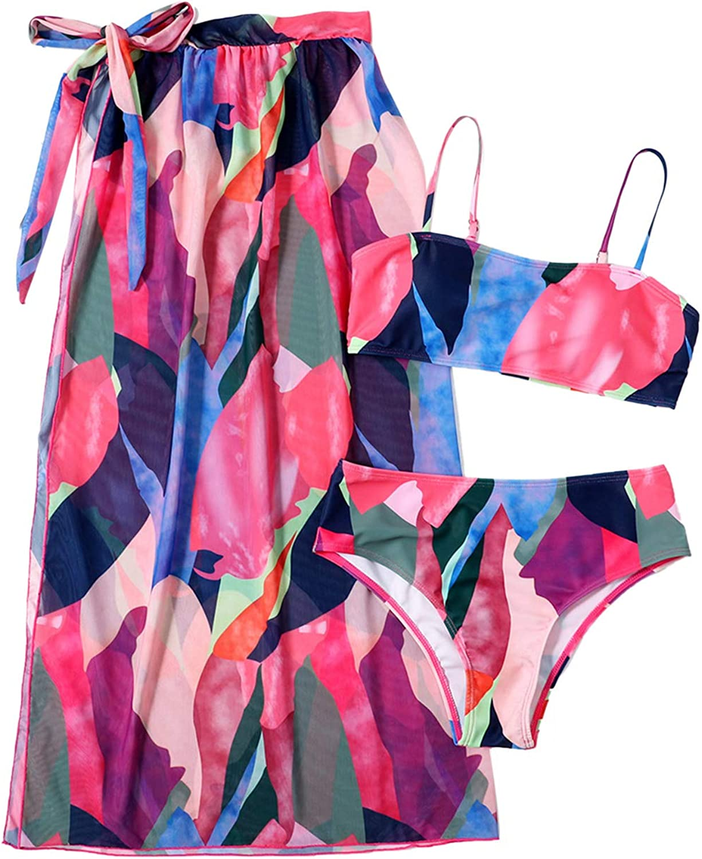 Pink Queen Women Printed 3 Piece Bikini Maxi Wrap Cover Up Dress Bandeau High Waisted Swimsuit Set