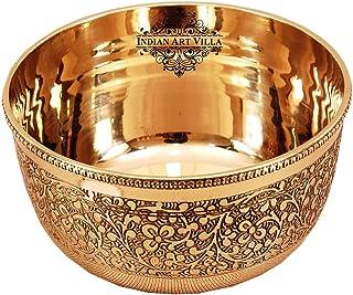 Indian Art Villa Pure Brass Embossed Design Flat Bottom Bowl, Decorative Dinnerware, Tableware and Serveware for Home Hote...