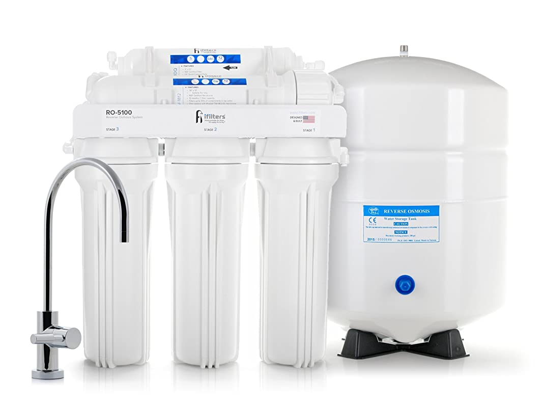 5 Stage Premium Reverse Osmosis System Complete 100 GPD With filters, Lead Free Faucet & Tank - Built in USA