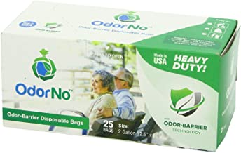 OdorNo ADU-2-4025 Odor-Barrier Disposable Bags; Perfect for Incontinence Products, Baby Diapers, Pet Waste, Garbage, Industrial Trash and Other Unpleasant Smells; 2 Gallons Capacity; Pack of 25 Bags