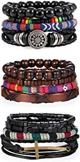 16pcs Men Womens Stackable Multi Layer Bohemia Leather Wood Beads Tribal Cuff Bracelet,Cross,Sunflower Charm