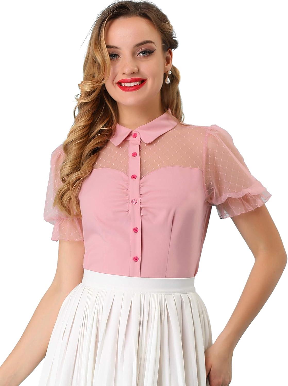 Allegra K Women's Mesh Panel Top Bubble Short Sleeve Point Collar Blouse Shirt