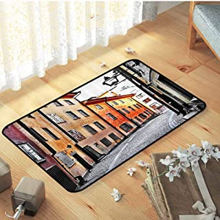 Outdoor Mats, Durable Non Skid Rug, Indoor Area Rug, Wanderlust Decor Collection | Streets of Stockholm Old Town Famous Landmark Narrow Pavement European Image Pattern - W23 xL35 Inch - Orange Gray