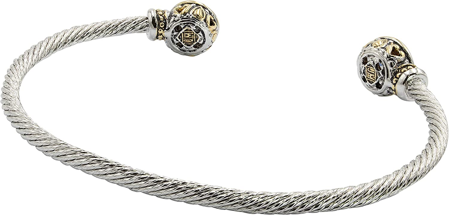 John Medeiros Classy Beijos Collection Two Stone Cubic-Zirconia Small Cuff Bracelet Made in America
