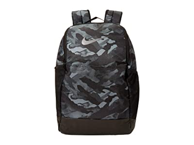 Nike Brasilia Medium All Over Print Backpack 9.0 (Light Smoke Grey/Black/Metallic Cool Grey) Backpack Bags