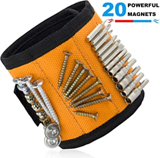Ginmic Magnetic Wristband, Tool Belt, with 20 Strong Magnets for Holding Screws, Nails,..