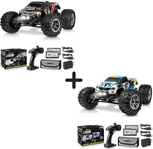 2021 1:10 Scale Large RC Cars 50+ kmh Speed - Boys Remote Control discount Car popular 4x4 Off Road Monster Truck Electric - All Terrain Waterproof Toys Trucks for Kids and Adults - Black-Red and Blue-Yellow Bundle Pack sale