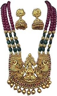 Bridal | Lakshmi | Kemp Stones | Jhumka Earrings | Temple Jewelry | South Indian Wedding |Jhumkas |Matte| Beads Necklace
