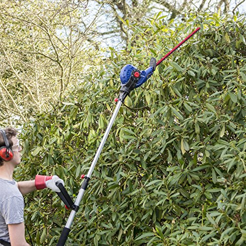 Qualtex 450W Telescopic Electric Pole Hedge Trimmer Cutter - 460mm Cutting Length - Extra Long Reach