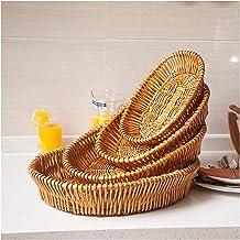MAHFEI Woven Bread Roll Baskets, Vintage Oval Wicker Bread Basket Storage Hamper Display Trays Handmade Rattan Fruit Tray ...