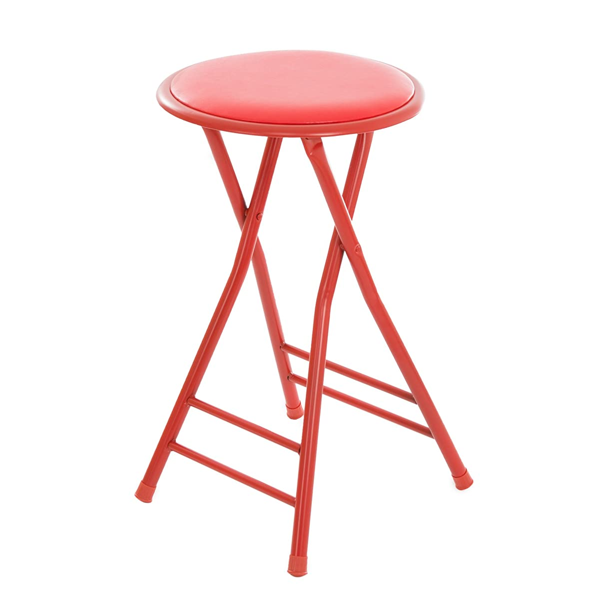 Trademark Home Folding Stool – Heavy Duty 24-Inch Collapsible Padded Round Stool with 300 Pound Limit for Dorm, Rec or Gameroom (Red)