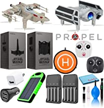 Propel Star Wars T-65 X-Wing Star Fighter and TIE Advanced X1 Quadcopter Two Drone Deluxe Bundle with 8-AA Rechargeable Batteries, 50cm Drone Landing Pad, Solar Charged USB Power Bank, and More