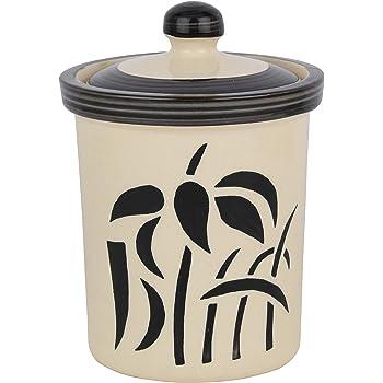 Favor8 Ceramic Jar Set | 1-Piece | 750 ml | Cream & Black | Food Storage | Multipurpose | Contemporary