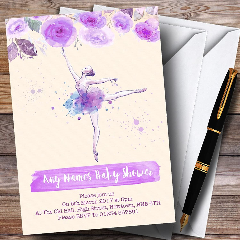 Watercolour Floral Ballerina Ballet Purple Invitations Baby Shower Invitations
