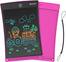 NEWYES 8.5 Inches Colorful Doodle Board LCD Screen Writing Tablet with Lock Function Magnetic Drawing Board Erasable Doodles Notepad Gifts for Ages 3+ Pink with Lanyard
