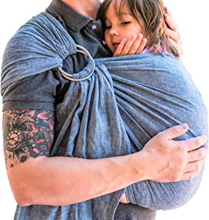 Soft Luxury Ring Sling Baby Carrier by Skya, Lightweight Linen Blend Perfect for Baby Wearing Newborns, Infants, and Toddlers, Best Baby Shower Gift or Baby Registry Present (Blue, XL)
