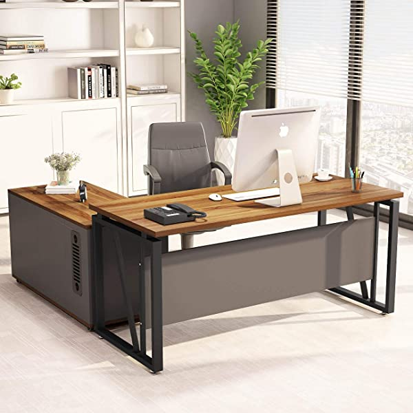LITTLE TREE L Shaped Computer Desk 55 Inches Executive Desk Business Furniture With 39 File Cabinet Storage Mobile Printer Filing Stand For Office Dark Walnut