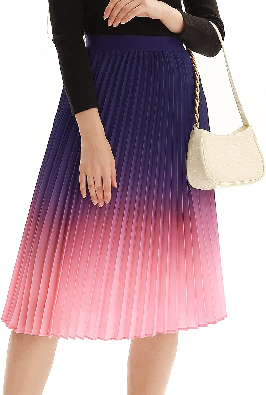 KANCY KOLE Women Pleated Midi Skirt High Waist Chiffon Elastic Skirts A-Line for Summer S-XXL