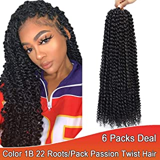 6 packs/lot Passion Twist Hair 18 inches Water Wave Crochet braids Black 1B Spring Twist Synthetic Crochet Hair Extensions Bohemian Curl