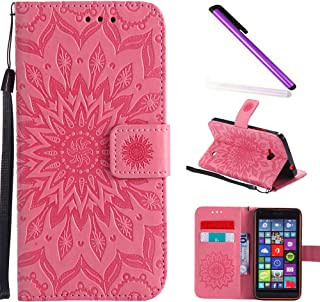 HMTECH Nokia Lumia N640 Case Sun Flower Embossed Floral Wallet Case Card Cash Slots Kickstand Premium PU Leather Flip Stand Cover Stylus Pen Nokia Lumia 640 N640 Mandala Pink KT