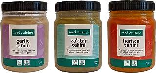 Med Cuisine Flavoured Tahini Selection - Za'atar Tahini, Harissa Tahini Y Tahini Con Ajo - Ricos En Hierro Y Calcio - 350gr - Pasta De Sésamo Vegano, Sin Gluten, Sin Nueces Y Kosher