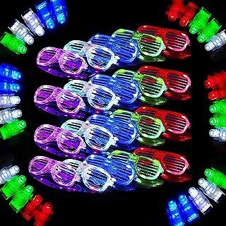 40 Pack Light Up Toy,20 Light Up Glasses ,20 LED Flashing Finger Lights,6 Color LED Plastic Sunglasses Shutter Shades and ...