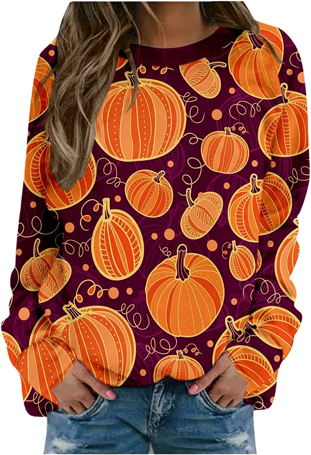 AODONG Halloween Sweatshirts for Women,Womens Funny Pumpkin Costumes Pullover Tops Casual Long Sleeve Sweater Blouse