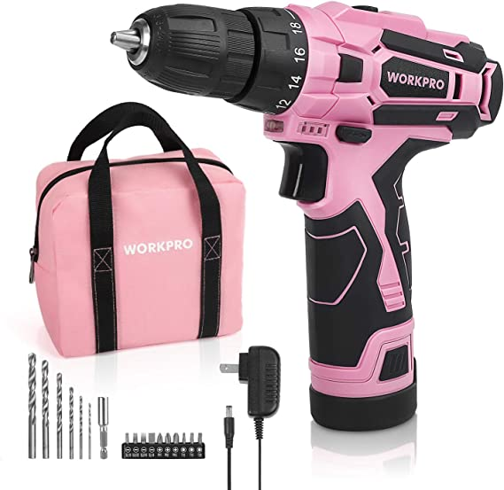 """Amazon.com: WORKPRO Pink Cordless Drill Driver Set, 12V Electric Screwdriver Driver Tool Kit for Women, 3/8"""" Keyless Chuck, Charger and Storage Bag Included - Pink Ribbon : Tools & Home Improvement"""