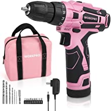 """WORKPRO Pink Cordless Drill Driver Set, 12V Electric Screwdriver Driver Tool Kit for Women, 3/8"""" Keyless Chuck, Charger and Storage Bag Included - Pink Ribbon"""