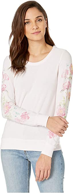 Painted Peonies Cozy Knit Long Sleeve Pullover