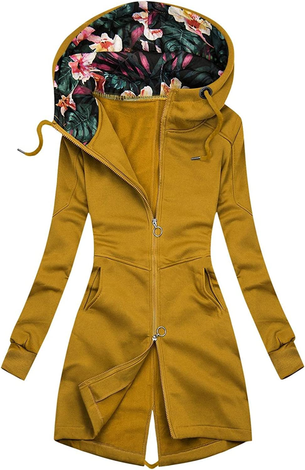Changeshopping Womens Hooded Coat Autumn Winter Fashion Print Hooded Solid Color Turtleneck Zipper Jacket with Pockets