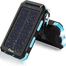 Solar Charger, F.Dorla 20000mAh Portable Outdoor Waterproof Solar Power Bank, Camping External Backup Battery Pack Dual 5V USB Ports Output, 2 Led Light Flashlight with Compass for iOS Android(Blue)