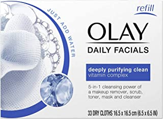 Olay Daily Facial Cleansing Cloths for a Deeply Purifying Clean, 5-in-1 Makeup Remover, 33 Count