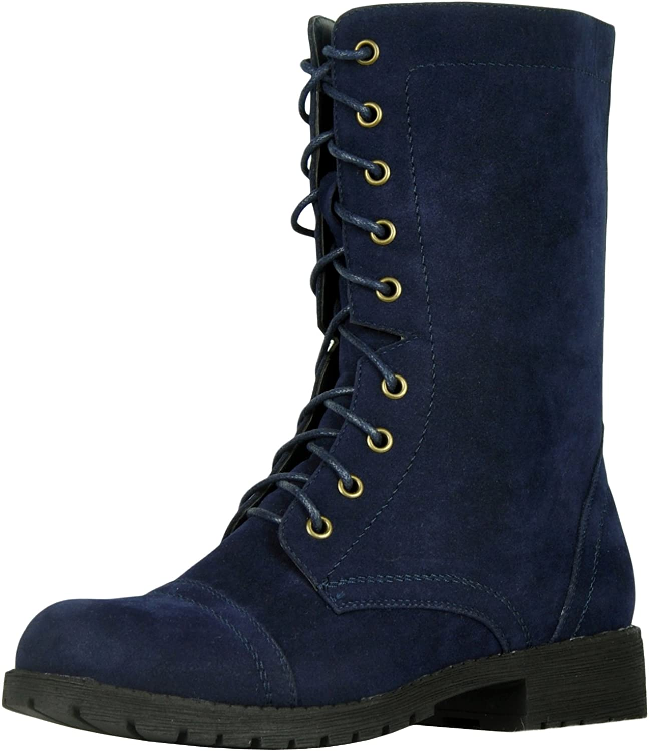 Refresh Footwear Women's Lace Up Military Combat Mid Calf Boot