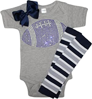 FanGarb Baby Girls Blue Rhinestone Football Outfit with Leg wamers & Bow