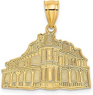 14k Yellow Gold The Queen Victoria Cape May Nj Pendant Charm Necklace Travel Transportation Fine Jewelry Gifts For Women For Her