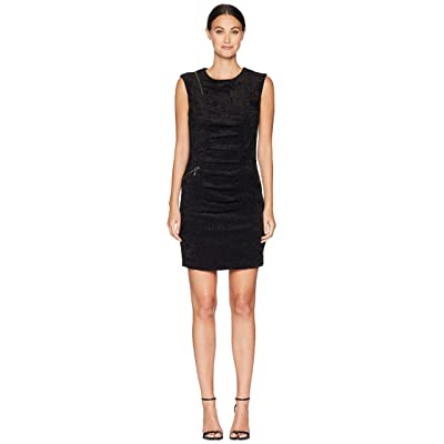 Nicole Miller Sleeveless Tucked Dress (Black) Women