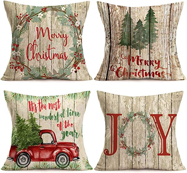 Asamour Xmas Vintage Wood Home Decor Pillowcase Christmas Letter With Beautiful Wreath Decorative Throw Pillow Case Cushion Cover 18 X18 Set Of 4 Red Truck Christmas Tree 4 Pack Vintage Wood Xmas