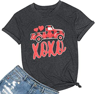 MAXIMGR Happy Valentines Day Short Sleeve T-Shirt Womens Casual O- Neck Cute Heart Graphic Tees Girlfriends Top