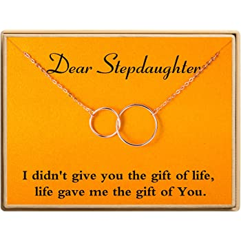 Ldurian Gifts for Stepdaughter Necklace Two Interlocking Infinity 2 Circles Pendants,Dear Stepdaughter Necklace Gifts Ideas