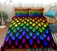 Scale Bedding Dragon Scale Duvet Cover Set Colorful Scales Pattern Design Teen Boys Girls Bedding Sets Queen (90x90) 1 Duvet Cover 2 Pillowcases (Scale, Queen)