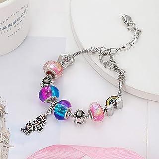 Bracelet Fille,JPYH Ensemble de bijoux Licorne,Bracelet /à breloques licorne magique scintillante avec coffret cadeau Bracelet Charms de Perles