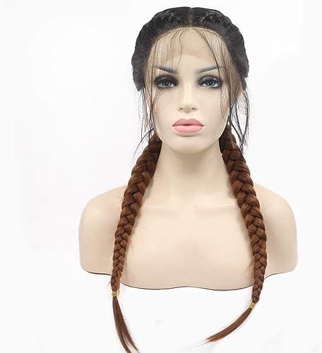 Moda marrón trenzado pelucas a prueba de calor sintético del frente del cordón pelucas para las mujeres naturales 2x doble trenzas de pelo largo, 24 pulgadas